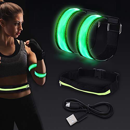 colmanda Brazalete LED, Alta Visibilidad Reflectantes Luz, Ajustable, Resistente Agua, Seguridad Brazalete Banda, Luces LED Intermitentes para Running, Actividades Aire Libre, Carga USB (Verde)