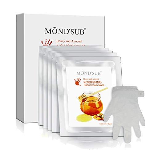 5 paires de MOND'SUB Masque à la main - Nuritious miel et aux amandes Hydratante main et masque à ongles - hydratant pour les mains sèches Gants à nourrissantes