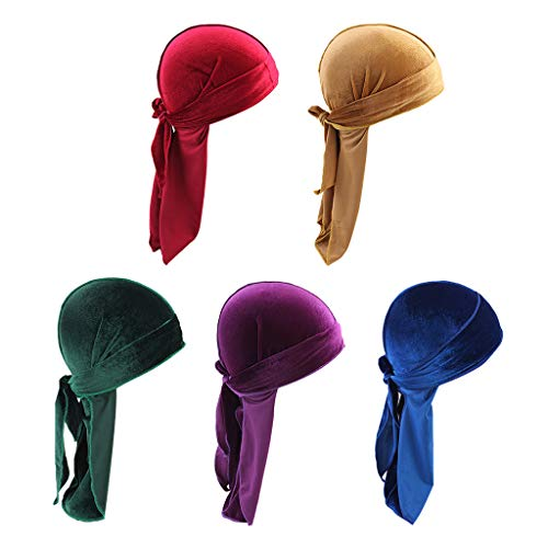 yotijar 5 Unidades Femininas Elegantes de Veludo Masculino Bandana Chapéu de Cauda Longa Muçulmana