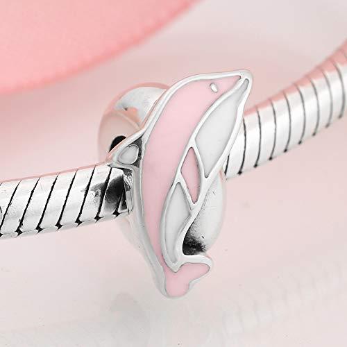 DFHTR Encantos De Moda para Mujer Plata De Ley 925 Precioso Animal Rosa Saltando Delfín Espaciador Tapón Cuentas Fit Original Charm Bracelet Jewelry