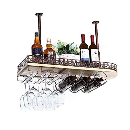 FWZJ Organizador de almacenamiento de cocina para colgar en el techo, de madera maciza, para vino, cristal, metal, estante para colgar y soporte para copas (tamaño 80 x 28 cm)