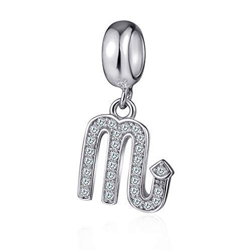 Scorpio Zodiac Sign Charms for Pandora Charm Bracelets - 925 Sterling Silver Necklace Pendants, 12 Constellation/Horoscope Star Dangle - Dangling Birthstone Beads, Birthday Gif Women/Men/Girls/Boys.