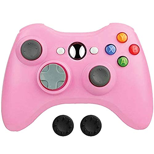 BEK Controller Replacement for Xbox 360 Controller, Wireless Remote Gamepad Non-Slip Joystick Thumb Grips Double Shock Live Play Compatible with Microsoft Xbox 360 Slim PC Windows 10 8 7 Color (Pink)