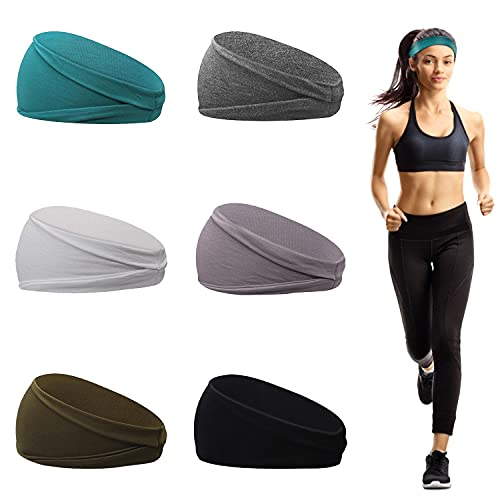 6 Pezzi Fasce Sportive da Donna, Fasce Per Capelli Donna in Cotone , Fascia Antisudore Elastica per Yoga, Corsa, Allenamento Fitness e Ciclismo(A)