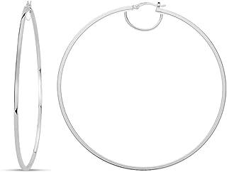 LeCalla Sterling Silver Italian LARGE Hoop Earring for Women