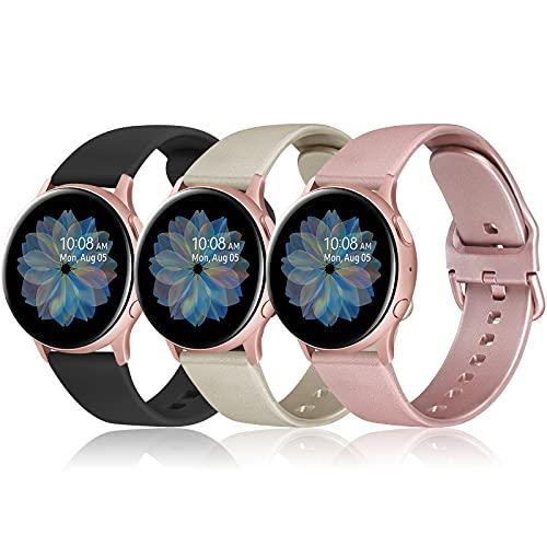 AK 20mm Cinturino per Samsung Galaxy Watch Active 2 40mm 44mm, Cinturino Sportiva in Silicone per Samsung Galaxy Watch 3 41mm/ Galaxy Watch Active 40mm/ 42mm/ Gear S2 Classic(Pack-1)