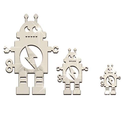 Artoy 3 Stück Klebespiegel Roboter Gewellte Spiegel für Schlafzimmer Wohnzimmer, 3D DIY Puzzle Spiegel
