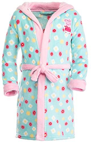 Brandsseller Peppa Pig - Albornoz con capucha para niño, diseño de Peppa Pig, azul claro, rosa, 110 cm-116 cm