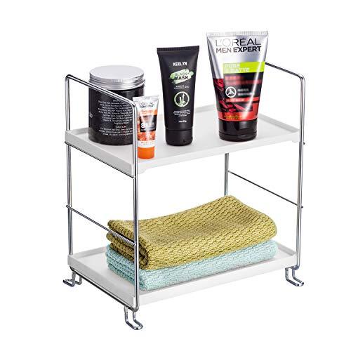 KINGBERWI 2-Tier Standing Storage Shelf Kitchen Bathroom Countertop Stackable Organizer Spice Rack Holder, Silver