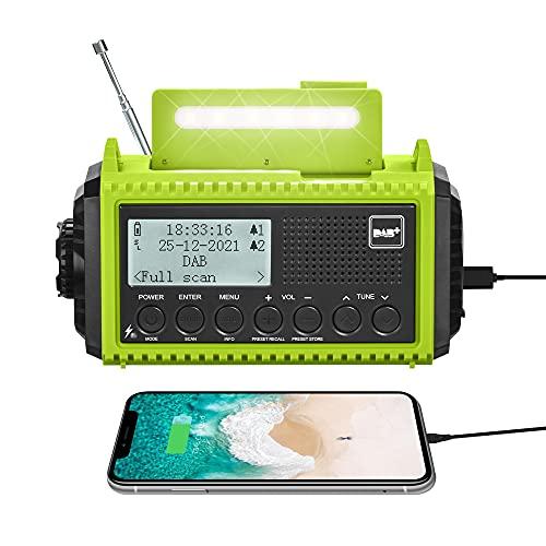 Radio Portatile DAB +/DAB/FM, Energia Solare e Manovella, 5000mAh Batteria Ricaricabile e USB, Luci e Torcia Elettrica e Luce di Lettura, Sopravvivenza SOS, Impermeabile per Escursionismo, Campeggio