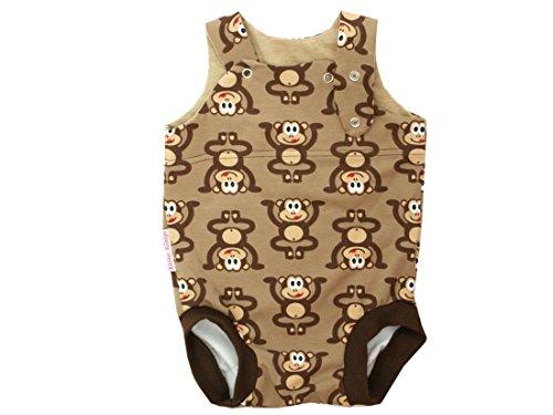 Kleine koningen baby romper jongen zomer baby body · model aapjes bruin · Ökotex 100 gecertificeerd · maten 50-92