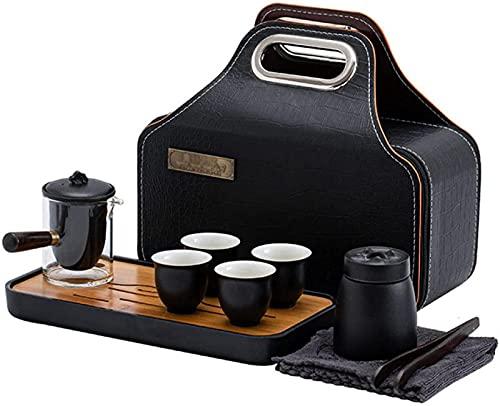 Juego de Tetera Juego de té de Porcelana Juego de té de Viaje Juego de té de cerámica Kung Fu con Carrito de té, Bandeja de té, Pinza de té y bolsita de té, Incluye 1 Tetera 4 Tazas de té