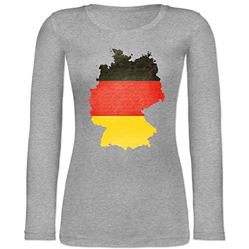 Shirtracer Fußball-Europameisterschaft 2021 - Deutschland Karte - XXL - Grau meliert - Flagge - BCTW071 - Langarmshirt Damen