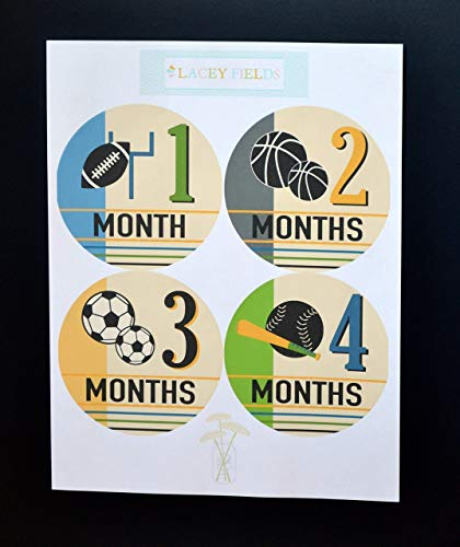 12 Pack Monthly First Year or Second Year Milestone Sports Stickers, Football Basketball Soccer Baseball