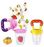 MMBABY Lot de 2 Tétine Sucette de Grignoteuse Anneau d'Alimentation Fruits en Silicone pour Bébé Samber (2Pcs) (M, Rose/Rouge)