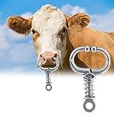 Jacksking Anillo de Nariz, Acero Inoxidable Toro Vaca Ganado Bovino Anillo de Nariz Accesorios de cría Colgador de Nariz Anillos de Nariz Aro(Alicates de Punta de Resorte)