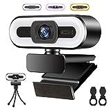 Muljexno Webcam 1080P HD, Cámara Web con Micrófono y Anillo de Luz de 3 Colores para PC/Laptop/Mac , Plug and Play, Utilizado para Videollamadas y Reuniones, Enseñanza en Línea, Juegos