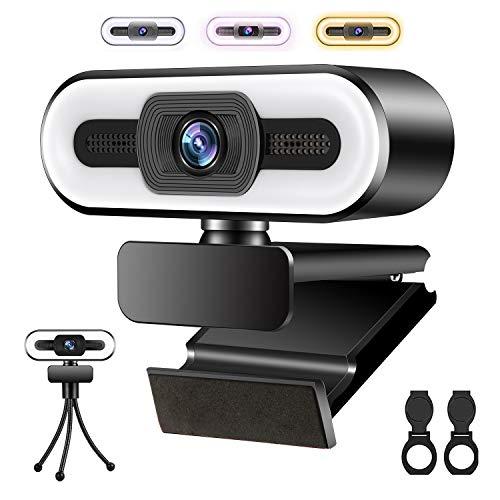 Muljexno Webcam 1080P HD, Webcam con Microfono e Anello Luminoso a 3 Colori per PC Laptop Mac, Plug and Play, Utilizzata per Videochiamate e Riunioni, Insegnamento Online, Giochi