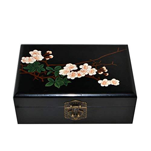 ALIANG Caja de Almacenamiento China de Madera Pingyao Push Light Laca Artesanía Caja de Almacenamiento de Joyas Flor de Pera