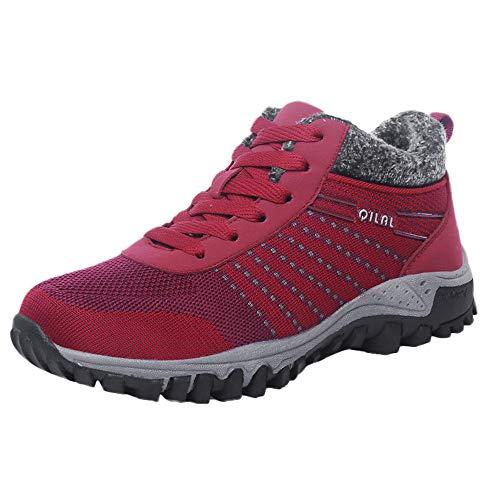 Culater Zapatillas Mujer Las Ocio de Malla Transpirable Antideslizante Mantener Caliente Calzado Deportivo Ligeras Planas(37,Rosa Caliente)