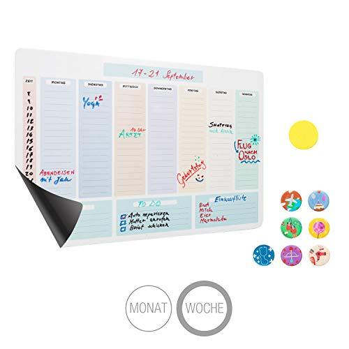 Amazy Calendario semanal magnético, 7 imanes y un Borrador – Calendario Lavable para Nevera para organizar Mejor su día a día