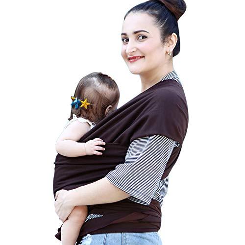 Fular Portabebés, Portador De Bebé Elastico para Llevar Al Bebé Ajustable Baby Carrier para Padres - Marrón
