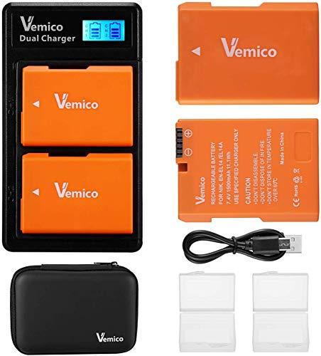 Vemico EN-EL14 EN-EL14a Cargador de Batería 2x1500mAh Batería de Repuesto Paquete de Cargador USB Tipo-C LCD de Doble Ranura para Nikon D5100/D5300/D5500/D3100/D5600/D3200/D3300/D5200/Coolpix P7000