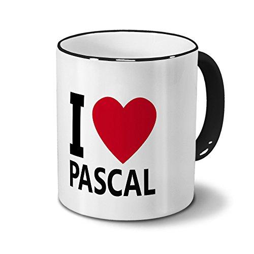 printplanet Tasse mit Namen Pascal - Motiv I Love Pascal - Namenstasse, Kaffeebecher, Mug, Becher, Kaffeetasse - Farbe Schwarz
