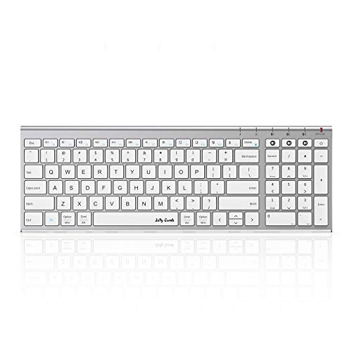 Multi-Device Bluetooth Keyboard for Mac/iPad/Android/Windows, Jelly Comb Slim Compact Bluetooth Keyboard with Number Pad| Seamless Switch Among 3 Devices (White and Silver, Rechargeable)