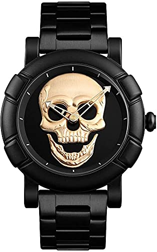 QHG Reloj para Hombre Relojes de Cuarzo cráneo de la Manera de la Cara Grande de la Cara de la Cara Impermeable Relojes de Pulsera de Acero Inoxidable para Hombres