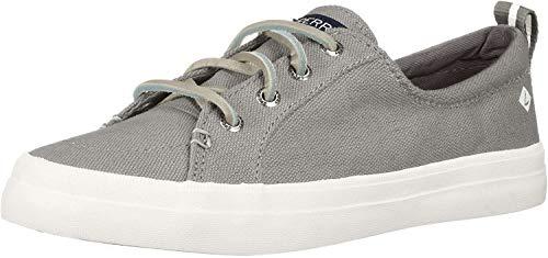 Sperry Womens Crest Vibe Linen Sneaker, Grey, 8