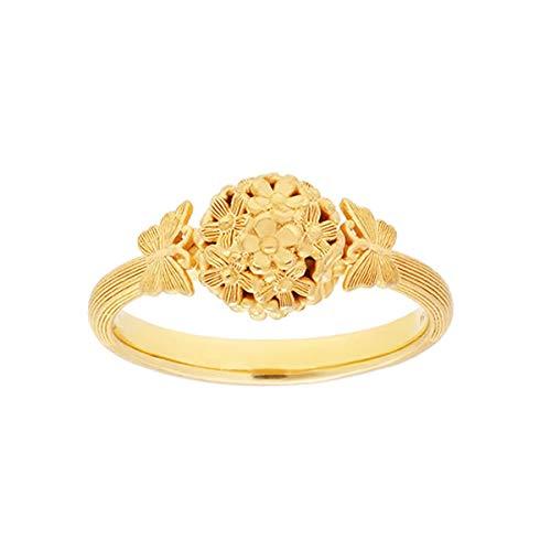 PRIMAGOLD(プリマゴールド) 純金 レディース リング 満開の花に蝶が集まる 指輪 K24 24金ジュエリー (12.5)