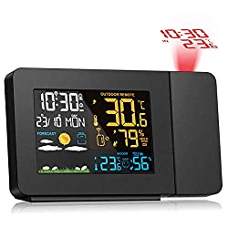 Newentor Projection Alarm Clock, Weather Clock Digital LED Display & Dimmer with Weather Station, Indoor & Outdoor Temperature, Humidity Monitor