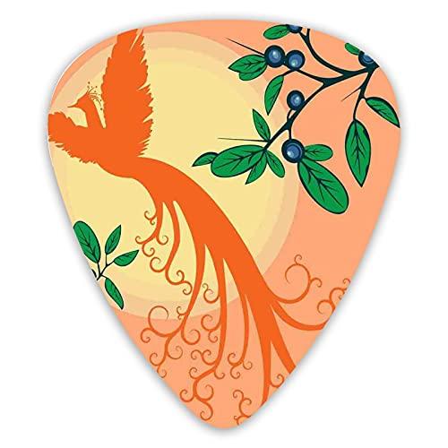 12 púas de guitarra variedad, silueta de pájaro fénix místico volando sobre el sol, hojas de uva, arte mágico, colroful premium ambientales ABS púas para guitarras eléctricas acústicas bajo