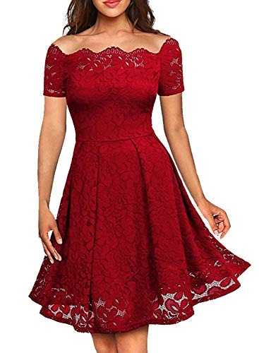LITTLEPIG Women's Vintage Floral Lace Long Sleeve Boat Neck Plus Size Dresses Cocktail Formal Swing Dress (XL, Bright Red3) (Apparel)