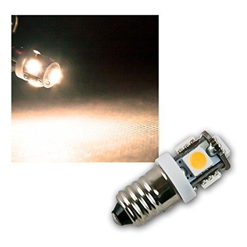 LED Leuchtmittel E10 warmweiß, 12V DC, 5x 5050 SMD, Lampen Leuchten Leuchtmittel