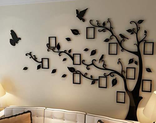 Groot formaat boom fotolijst acryl 3D muurstickers woonkamer slaapkamer decor fotolijst muursticker huiskamer decoratie, allemaal zwart, XL 276cm 200cm