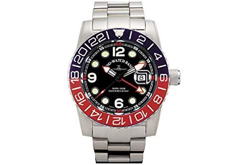 Zeno-Watch - Reloj de Pulsera para Hombre - Airplane Diver Quartz GMT Points (Dual Time) Negro/Azul/Rojo - 6349Q-GMT-a1-47M