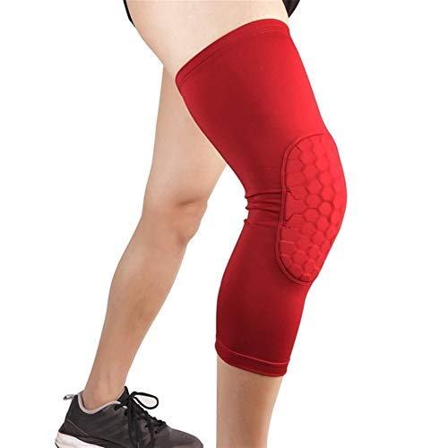 Kniebandage Atmungsaktive Sport Fußball Basketball Knieschützer Honeycomb Kniebandage Beinmanschette Wadenkompression Kniebandage Schutz (1 STÜCKE) knee active plus (Color : Red, Size : XL)