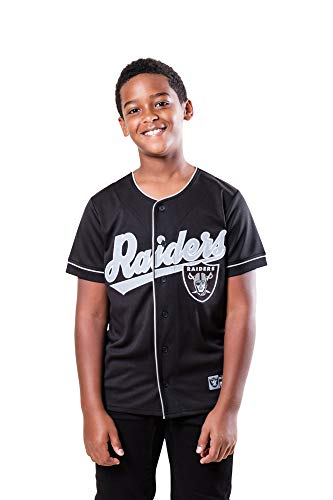 Ultra Game NFL Las Vegas Raiders Youth Mesh Baseball Jersey Tee Shirt, Team Color, 18/20