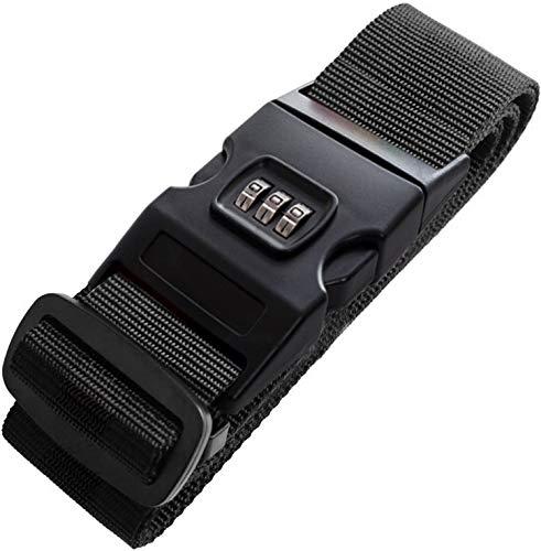 スーツケースベルト ロック十字型 固定ベルト 長さ調整 3桁ダイヤル式ロック旅行 海外出張用 ネームタグ付 紛失防止 スーツケースベルト (B-ブラック(1個セット))