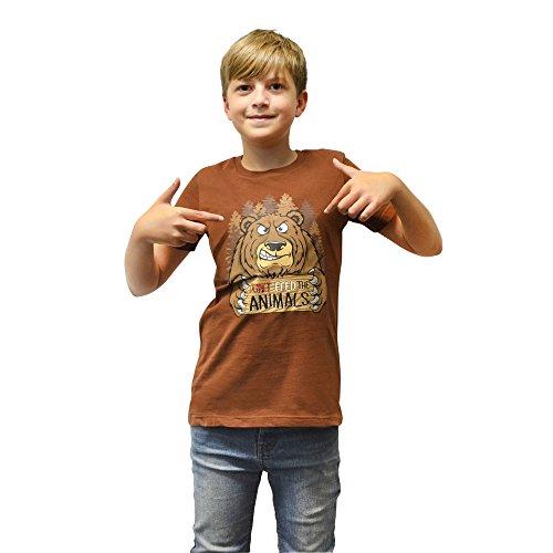 Digital Dudz DDCT DBS - Moving Occhi Orso Affamato Bambini T-Shirt, Taglia S, 6-7 Anni, Brown