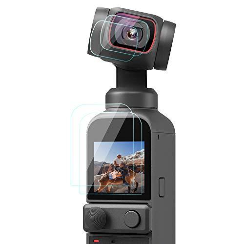 TUTUO 4 Pezzi Vetro Temperato la Pellicola Protettiva per DJI Pocket 2, Schermo + Camera Lens Proteggi Schermo Scratch Resistant Protezione Pellicole per DJI OSMO Pocket 2 Accessori