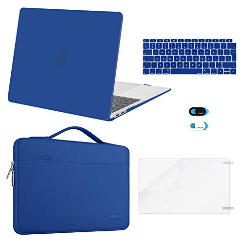 MOSISO MacBook Air 13 inch Case 2020 2019 2018 Release A2337 M1 A2179 A1932,Plastic Hard Case&Bag&Keyboard Skin&Webcam Cover&Screen Protector Compatible with MacBook Air 13 inch Retina, Classic Blue