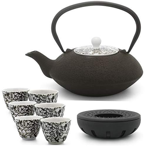 Bredemeijer Teekanne asiatisch Gusseisen Set braun 1,2 Liter mit Tee-Filter-Sieb und gusseisernen Stövchen inkl. 6 braunen Teebecher Porzellan
