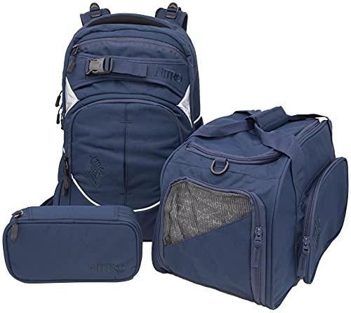 Nitro Superhero, Schulrucksackset, Rucksack, Backpack, abnehmbarer Hüftgurt, robuste Bodenplatte, Thermotasche, Laptopfach, Sporttasche & Pencil Case XL,Indigo