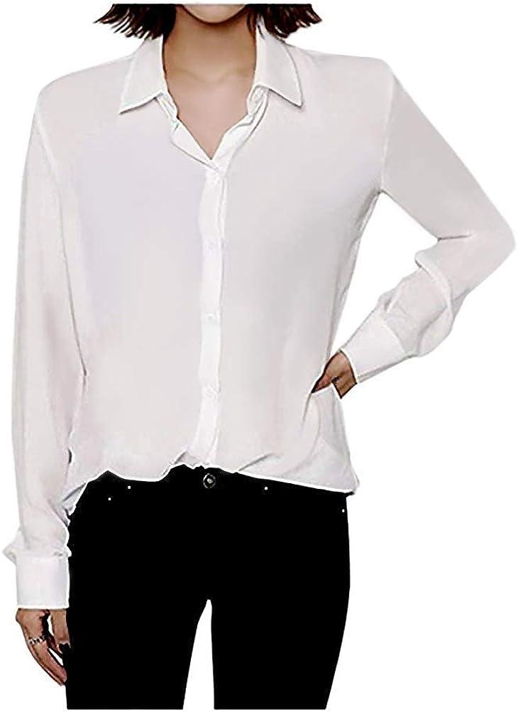 ARJOSA Women's Long Sleeve Button Down Shirts Casual Chiffon Blouses Tops