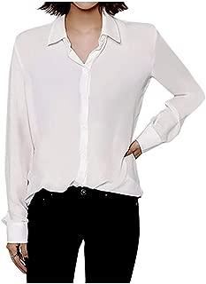 ARJOSA Women's Chiffon Long Sleeve Button Down Casual Shirt Blouse Top