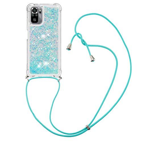 HülleLover Handykette Handyhülle für Xiaomi Redmi Note 10 4G, Glitzer Flüssig Bewegende Treibsand Transparent Silikon Hülle mit Kordel zum Umhängen Necklace Hülle Band für Redmi Note 10S, Silber Blau