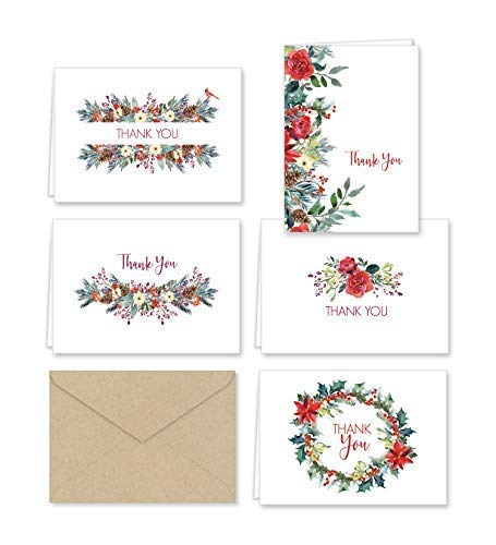 Paper Frenzy Christmas Greenery Thank You Note Cards and Envelopes - 25 pack